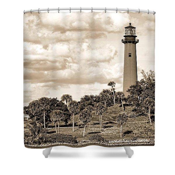 Sepia Lighthouse Shower Curtain