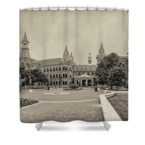 Sepia Panorama Of Burleson Hall And Old Main At Baylor University - Waco Central Texas Shower Curtain