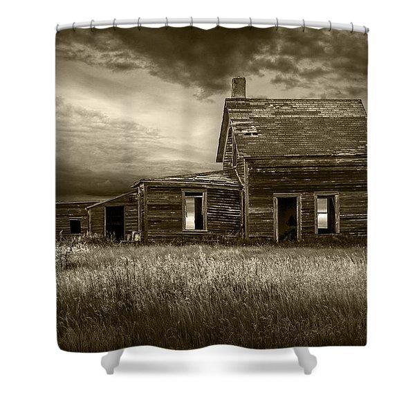 Sepia Tone Of Abandoned Prairie Farm House Shower Curtain