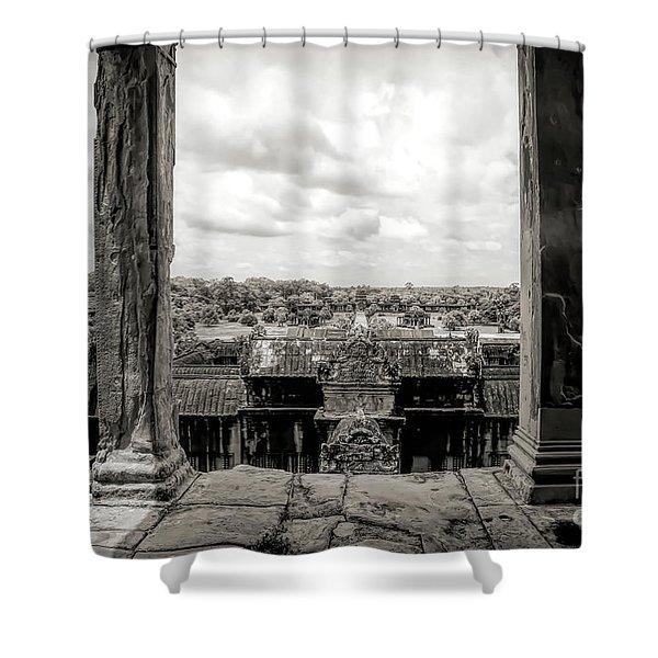 Sepia Wonder Of World Unesco Angkor Wat  Shower Curtain