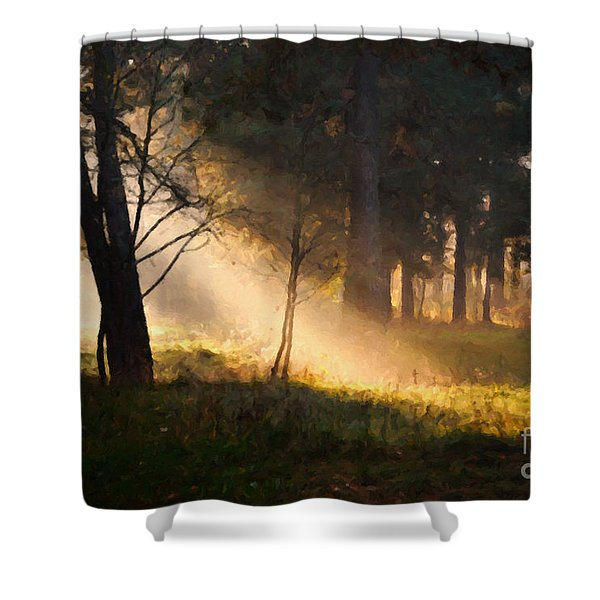Shower Curtain featuring the painting September Impressions by Rosario Piazza