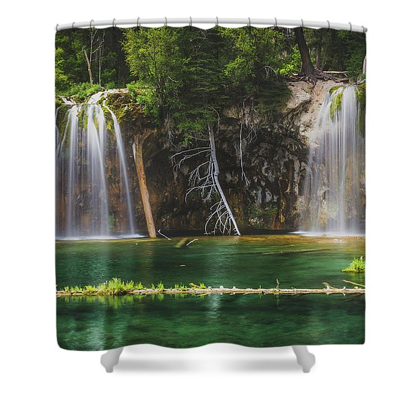 Serene Hanging Lake Waterfalls Shower Curtain