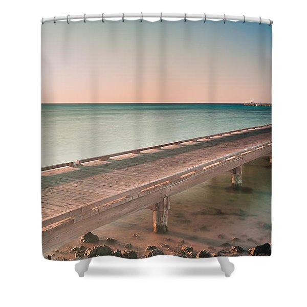 Serene Seascape At Sunrise Shower Curtain