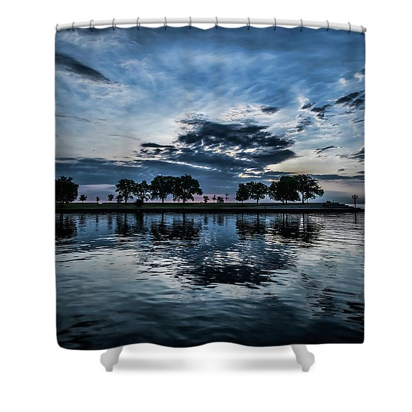 Serene Summer Water And Clouds Shower Curtain
