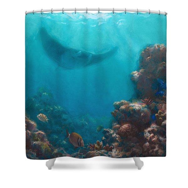 Serenity - Hawaiian Underwater Reef And Manta Ray Shower Curtain