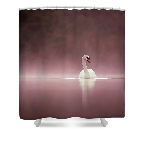 Serenity - Swan On A Foggy Sunset Shower Curtain