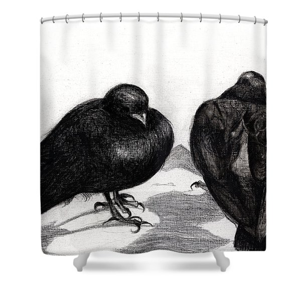 Serious Pigeon Situation Shower Curtain