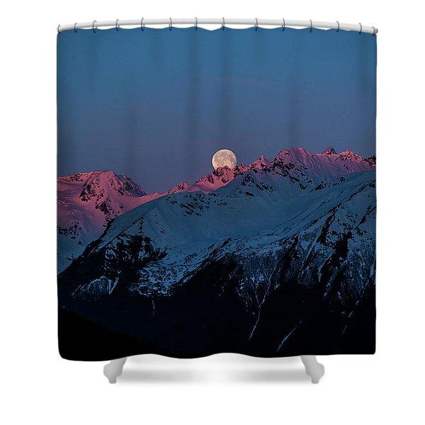 Setting Moon Over Alaskan Peaks Iv Shower Curtain