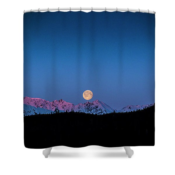 Setting Moon Over Alaskan Peaks Shower Curtain