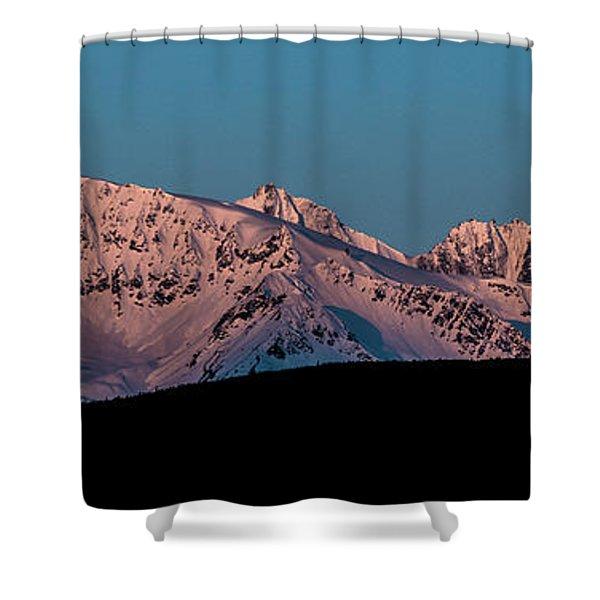 Setting Moon Over Alaskan Peaks Vi Shower Curtain
