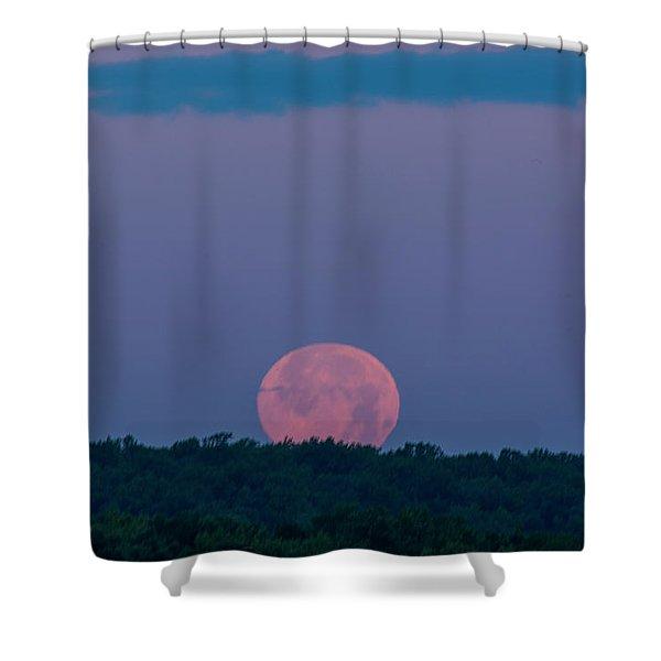 Setting Strawberry Moon Shower Curtain