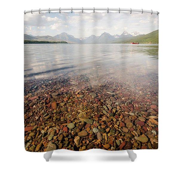 Setting Sun On Lake Mcdonald Shower Curtain