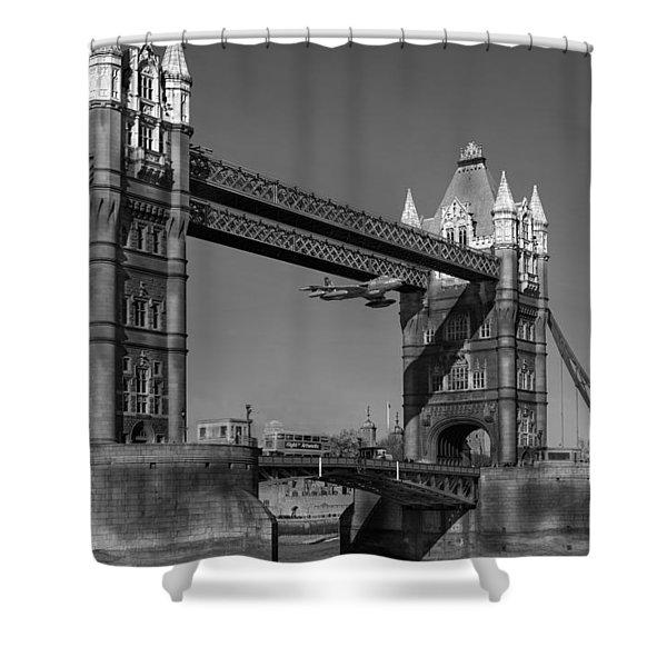 Seven Seconds - The Tower Bridge Hawker Hunter Incident Bw Versio Shower Curtain