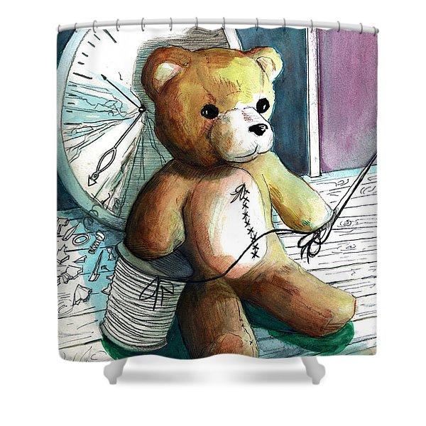 Sewn Up Teddy Bear Shower Curtain