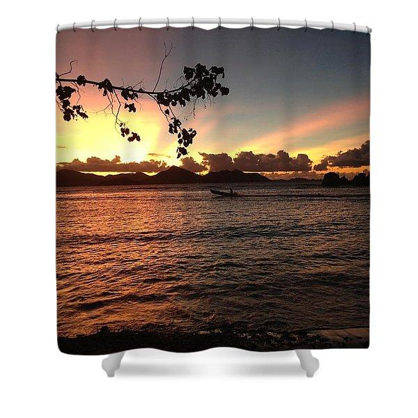 Seychelles Sunset 2 Shower Curtain
