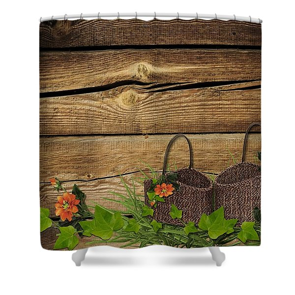 Shabby Chic Flowers In Rustic Basket Shower Curtain