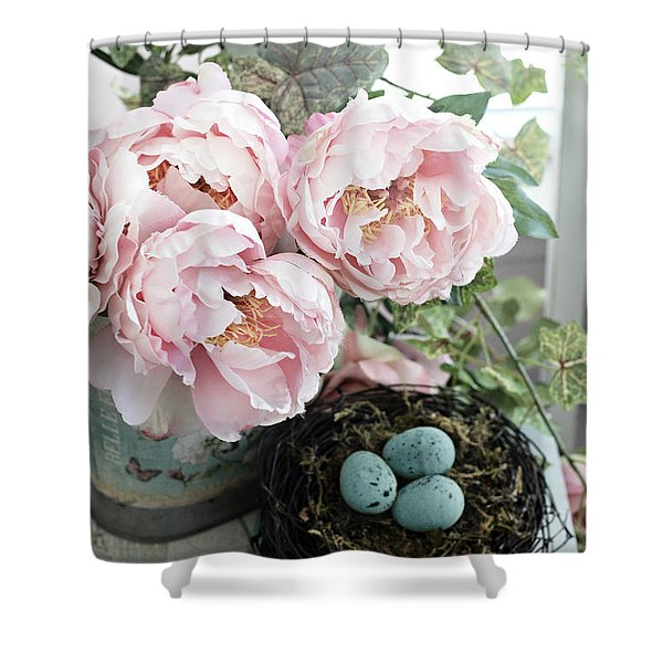 Shabby Chic Peonies With Bird Nest Robins Eggs - Summer Garden Peonies Shower Curtain