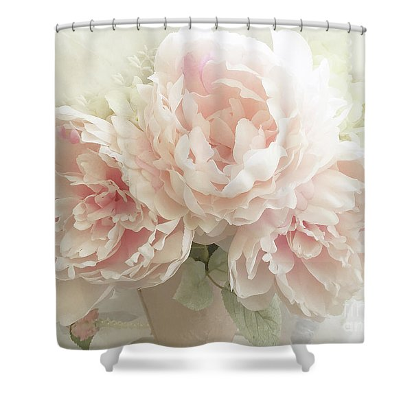 Shabby Chic Romantic Pastel Pink Peonies Floral Art - Pastel Peonies Home Decor Shower Curtain