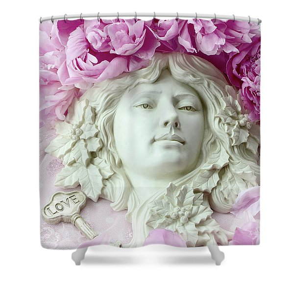 Shabby Chic Romantic Peonies With Angel Sculpture - Dreamy Peonies Love Angelic Sculpture Art Shower Curtain