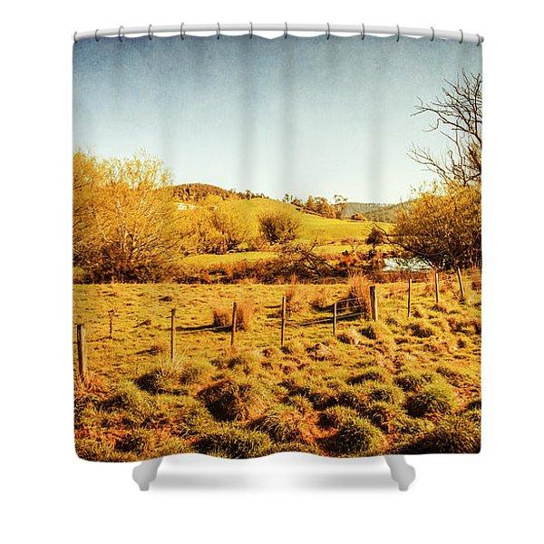 Shabby Country Farmland Shower Curtain