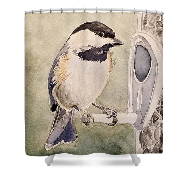 Shades Of Black Capped Chickadee Shower Curtain