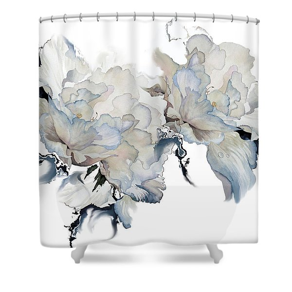 Shades Of White Peony Shower Curtain