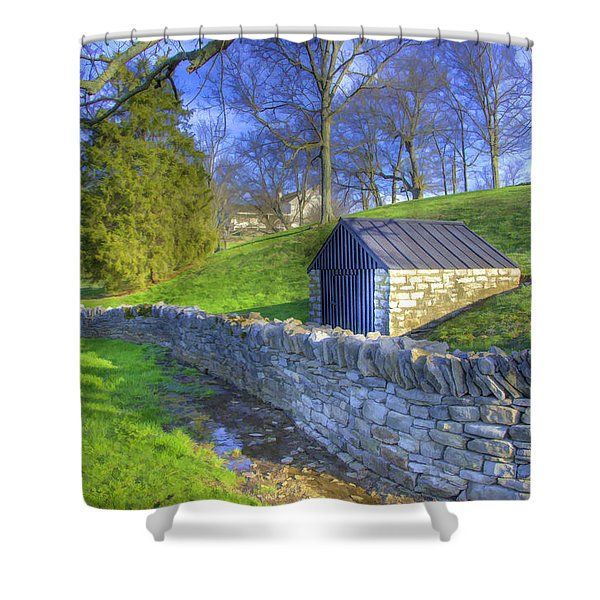 Shaker Stone Wall 6 Shower Curtain