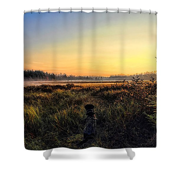 Sharing A September Sunrise With A Retriever Shower Curtain