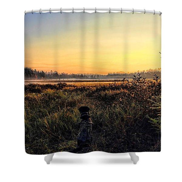 Sharing A September Sunrise With A Retriever Shower Curtain