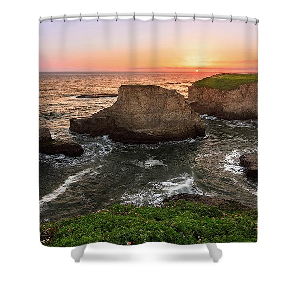 Shark Fin Cove Sunset Shower Curtain