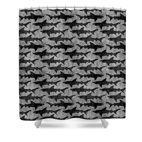 Sharks In Gray And Black Shower Curtain