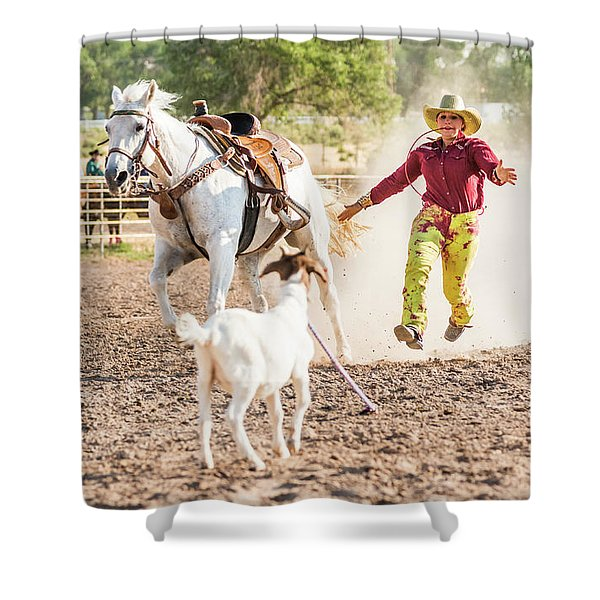 Shawnee Sagers Goat Roping Competition Shower Curtain