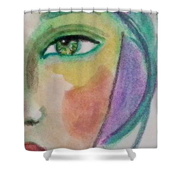 Girl In Watercolor Shower Curtain