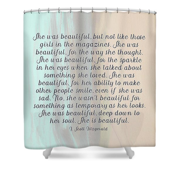 She Was Beautiful By F. Scott Fitzgerald 4 #painting #minimalism #poem Shower Curtain