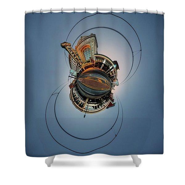 Shea's On Main Street Buffalo - Tiny Planet Shower Curtain