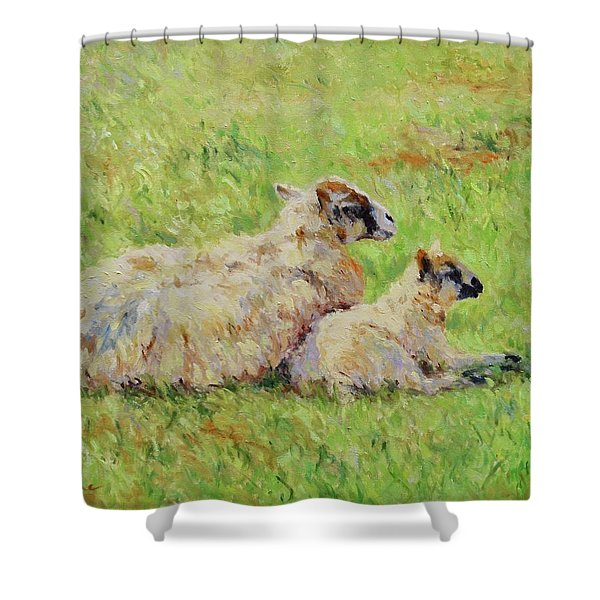 Sheep In The Spring Time,la Vie Est Belle Shower Curtain