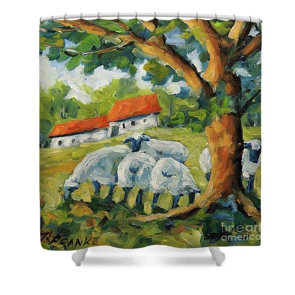 Sheep On The Farm Shower Curtain