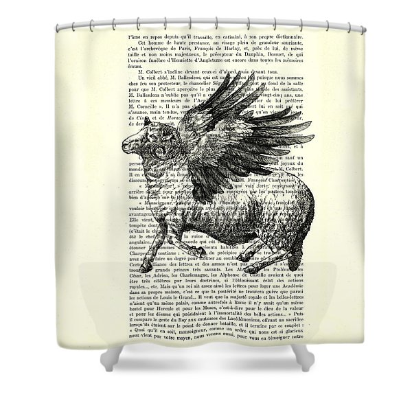 Sheep With Angel Wings Black And White  Shower Curtain