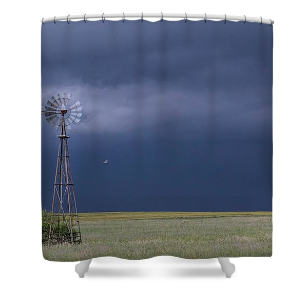 Shelf Cloud And Windmill -02 Shower Curtain