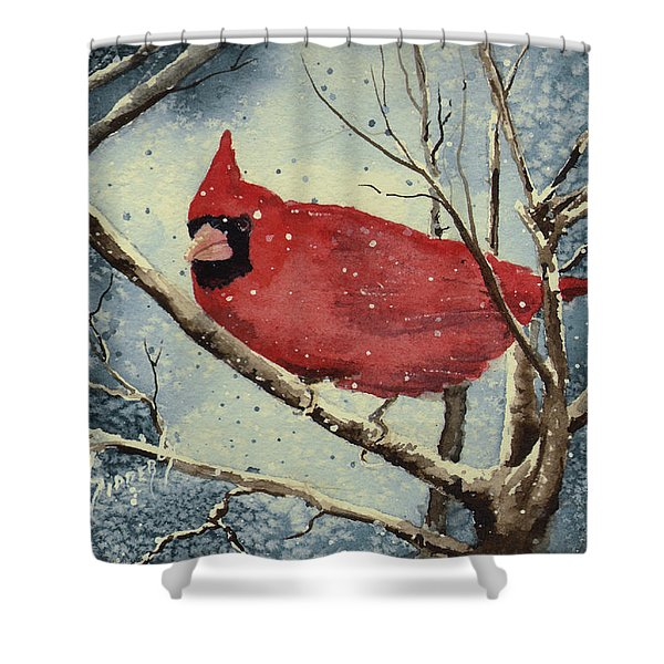 Shelly's Cardinal Shower Curtain