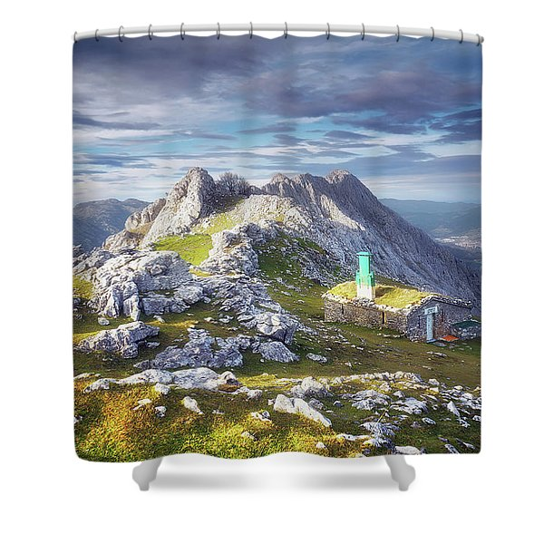 Shelter In The Top Of Urkiola Mountains Shower Curtain