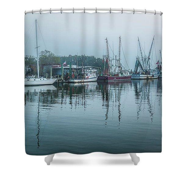 Shem Creek Fog Shower Curtain