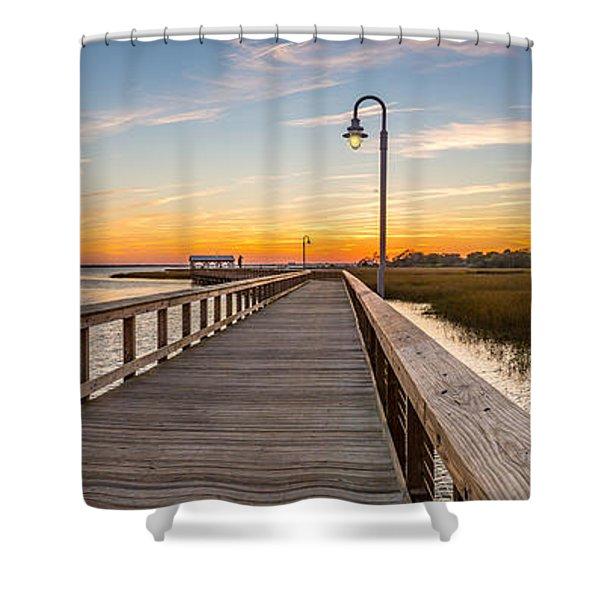 Shem Creek Pier Panoramic Shower Curtain