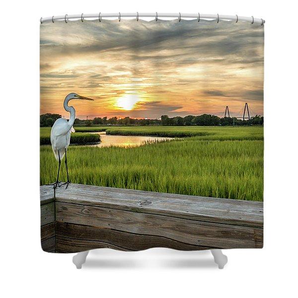 Shem Creek Pier Sunset Shower Curtain