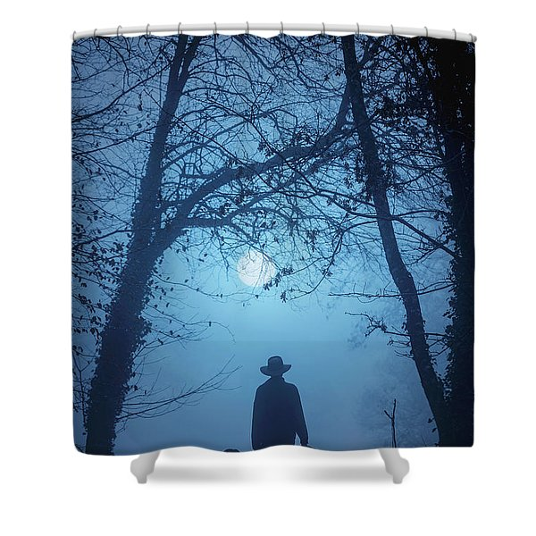 Shepherd And His Dogs Along The River Tamar Shower Curtain
