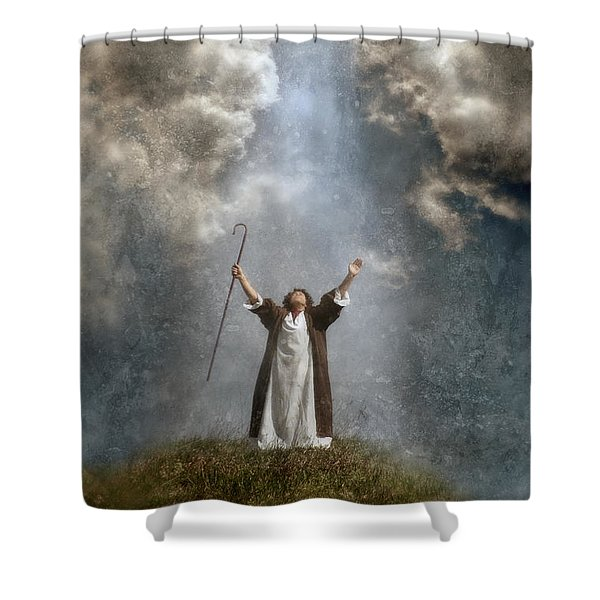 Shepherd Arms Up In Praise Shower Curtain