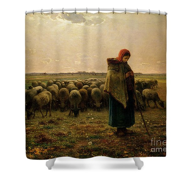 Shepherdess With Her Flock Shower Curtain