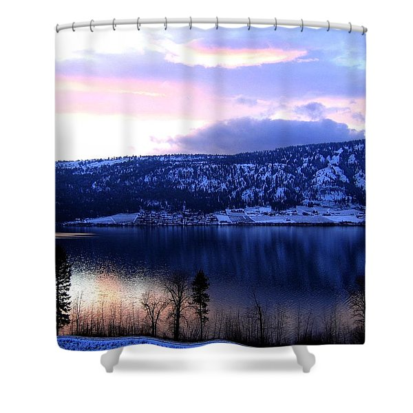Shimmering Wood Lake Shower Curtain