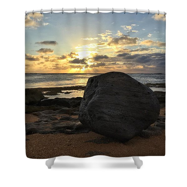 Shining Over The Boulder  Shower Curtain