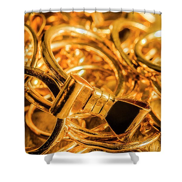 Shiny Gold Rings Shower Curtain